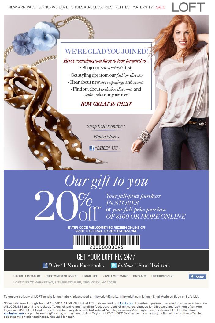 Loft coupon printable