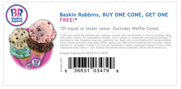 photograph relating to Baskin Robbins Printable Coupons identify Baskin Robbins: Acquire Just one Receive Just one Cost-free Cone - My Frugal Adventures