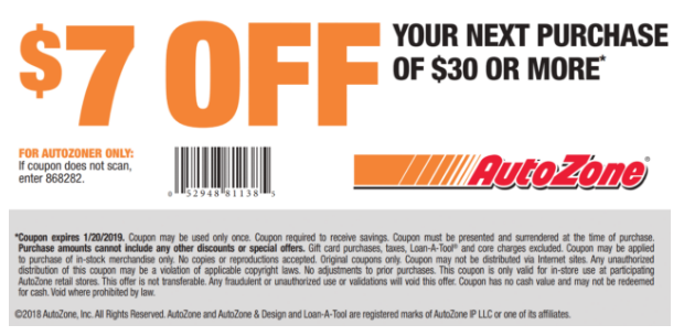 AutoZone -  7 off your next purchase of  30 or more. Valid thru 1 20 ... 6757ff2704ded